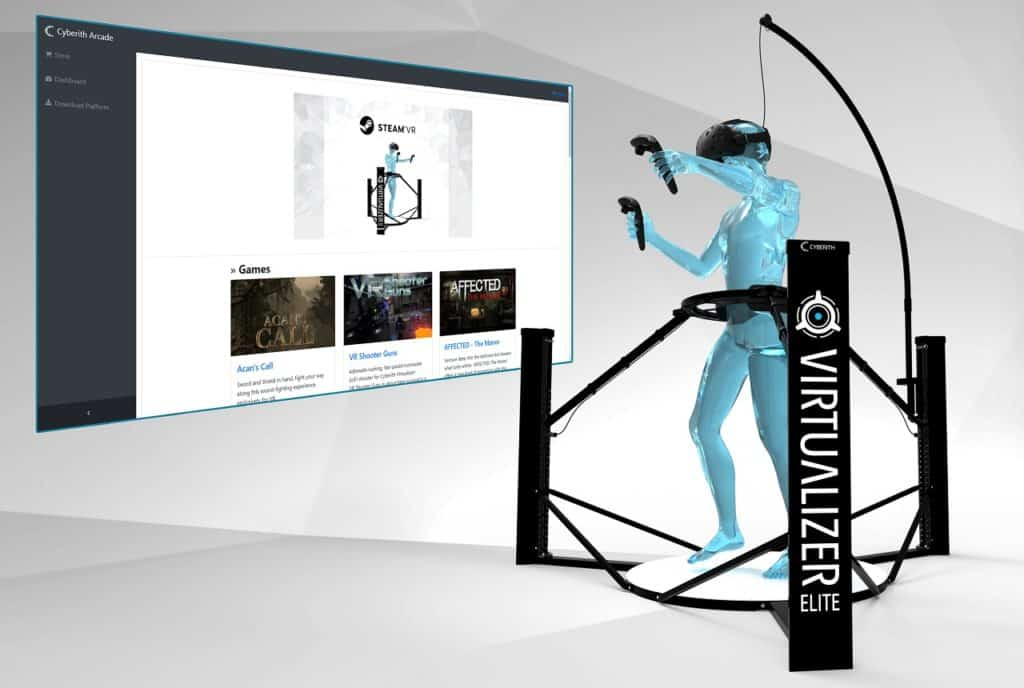 Screenshot of Cyberith Arcade Website and Virtualizer ELITE in foreground